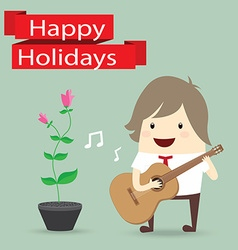 businessman is playing a guitar flower happy vector image vector image