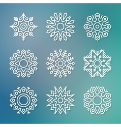 Christmas flat line snowflakes vector image vector image