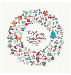 christmas hand drawn cute holiday wreath card art vector image