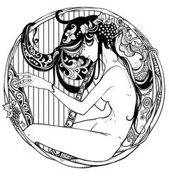 Detailed art-deco decorative vignette as modern vector