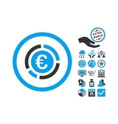 Euro Financial Diagram Flat Icon With Bonus vector image vector image