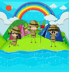 rainy day with children camping out by the river vector image vector image