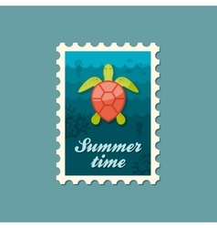 Sea turtle stamp Summer Vacation vector image