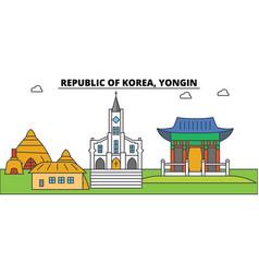 south korea yongin outline city skyline linear vector image vector image