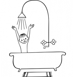 taking a shower boy vector image