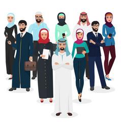 arab muslim business people teamwork arabic vector image vector image