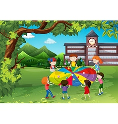 Children playing in the school yard vector image vector image