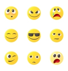 Emoticons for messages icons set cartoon style vector image vector image