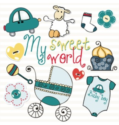 lovely elements for baby boy vector image vector image