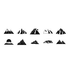 mountain icon set simple style vector image