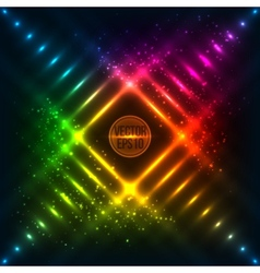 Rainbow neon grid background vector image