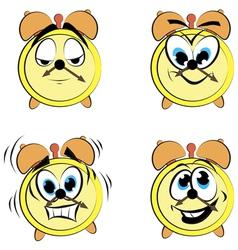Cartoon alarm clock ikons vector image