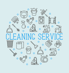 Cleaning service concept with thin line icons vector