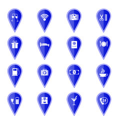 set of blue map pointers with hotel services icons vector image vector image