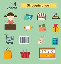 shopping set vector image