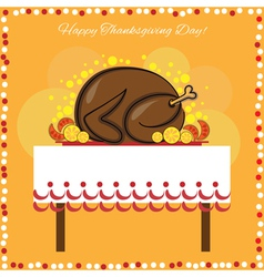 Thanksgiving Day card with traditional turkey vector image
