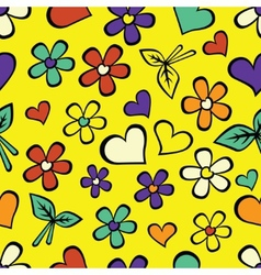 Cartoon seamless texture with hearts vector image vector image