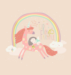 cute cartoon girl with unicorn vector image vector image