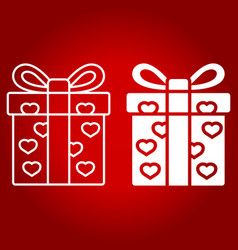 love present line and glyph icon vector image vector image
