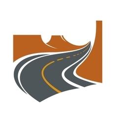 Road passes through canyon between brown cliffs vector