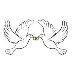 wedding two doves icon cartoon vector image