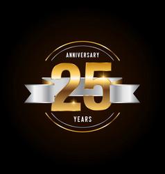 25 years anniversary celebration logotype golden vector image
