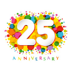 25 years anniversary paper colorful logo vector