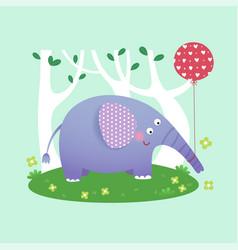 a cute elephant with balloon vector image