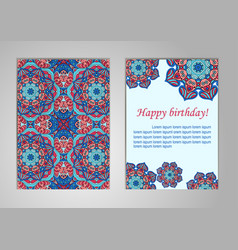 A set of cards with happy birthday old oriental vector