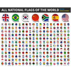 all national flags world speech bubble vector image