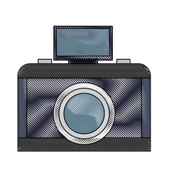 Analog camera with flash light photo equipment vector