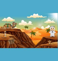 arabian boy with amany animal on the desert vector image