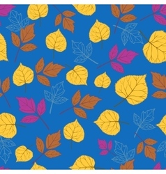 Autumn leaves on blue-01 vector
