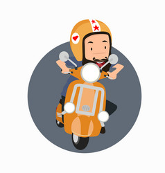 bearded man hipster riding a motorbike vector image