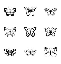Beautiful butterfly icons set simple style vector