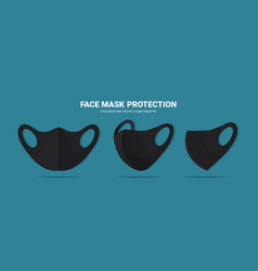 black antiviral medical respiratory face masks vector image