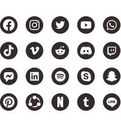 Black white social media icon 2019 vector