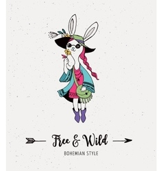 Bohemian fashion girl bunny rabbit boho style vector