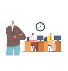 boss with crossed arms stand behind clerks or vector image