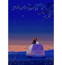 Boy and girl look over the city Romantic night vector image