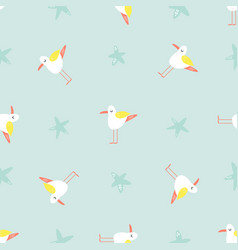 bright seamless pattern with funny seagulls vector image