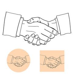 businessmen shake hands silhouette vector image