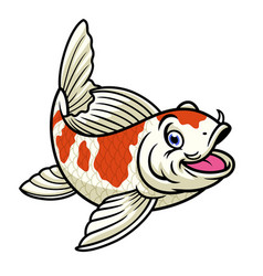 Cartoon character cute red and white koi fish vector