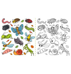 cartoon insects color painting game draw cute vector image