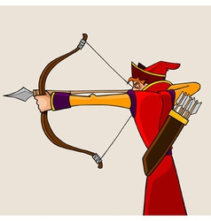 cartoon man aiming from a bow vector image
