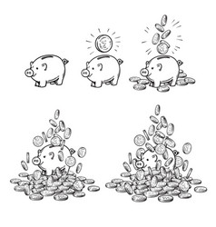 cartoon piggy bank and coins set piggy with one vector image