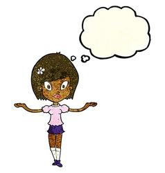 Cartoon woman making balancing gesture with vector