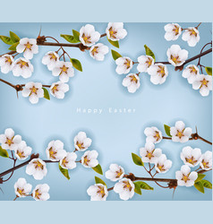 Cherry flowers border realistic branches vector