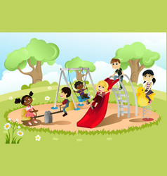 Children in playground vector