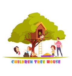 Children tree house cartoon vector